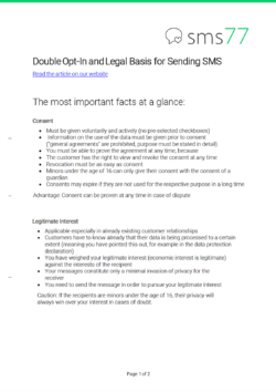 Overview for the article on the double opt-in and the legal basis for sending sms