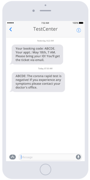 Automated notifications via SMS make covid testing a lot more efficient