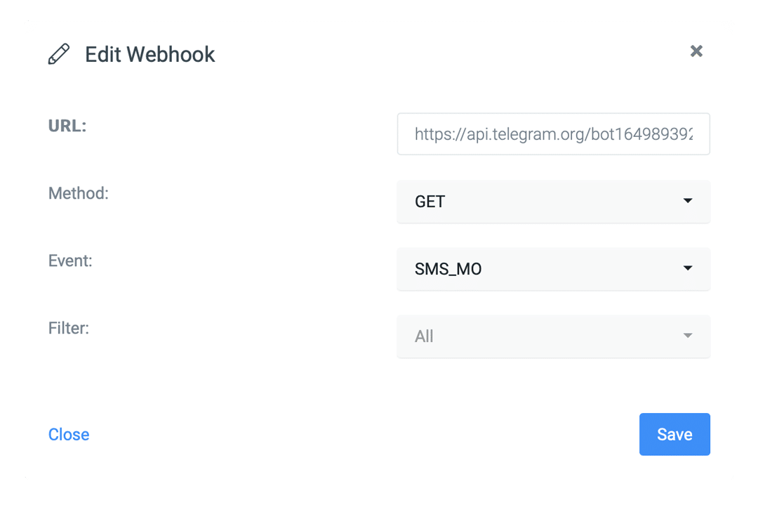 In the Webhook settings, configure the forwarding of the SMS to Telegram