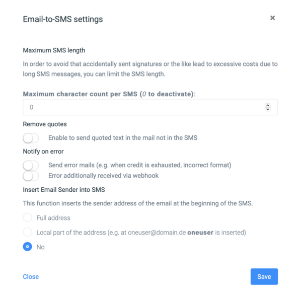 Settings Mail2SMS