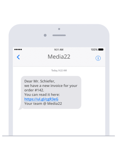 Example of an automated SMS with Akaunting