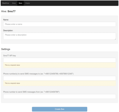 Configure the dispatch of SMS with Beehive